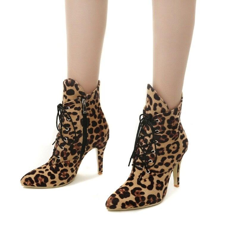 f80f3cfbdb5 Liée Hiver Taille Croix Bout 10cm 10cm Cheville Dentelle 10cm gray Sexy  black Chaussures Plus Courtes Femmes Femme Pointu ...