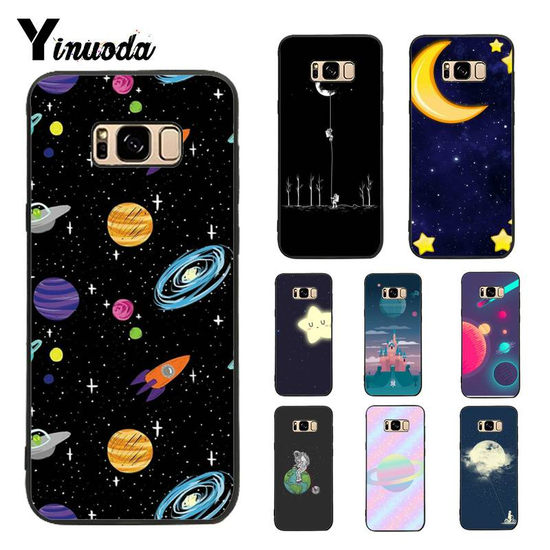 Persevering Yinuoda Case For Galaxy S9 Cartoon Glossy Moon Stars Cosmos Colorful Printing Phone Case For Samsung Galaxy S4 S5 S6 S7 S8 S9 Half-wrapped Case