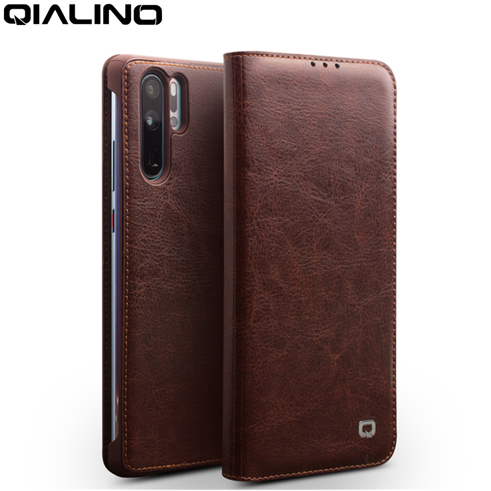 QIALINO Genuine Leather Ultra Slim Phone Cover for Huawei P30 Pro 6.47 inch Luxury Handmade Flip Case for Huawei P30 6.1 inch