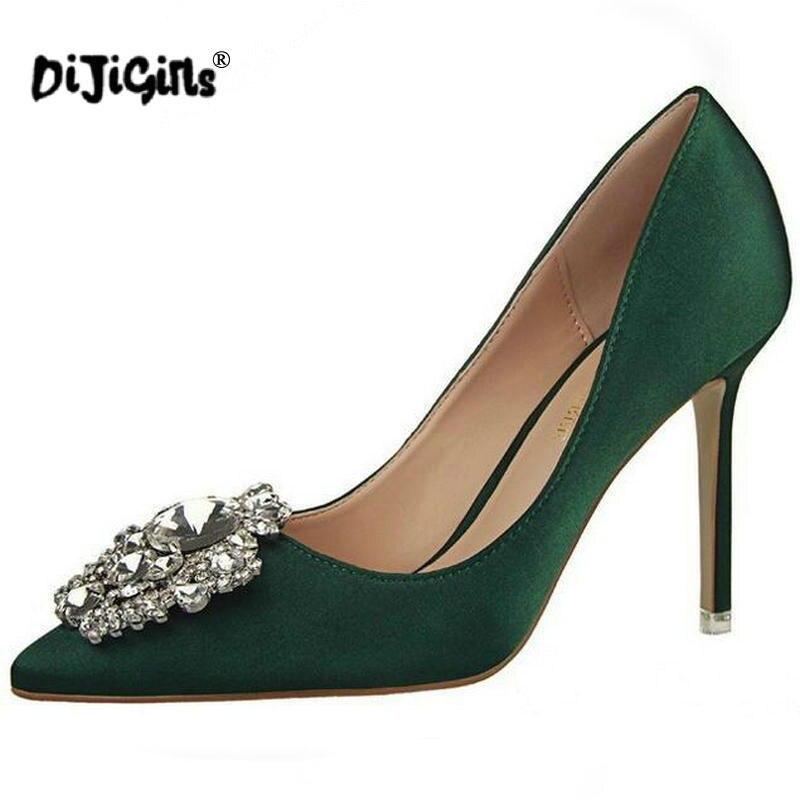 Nouveau argent Chaussures Dijigirls Pointu Simples De Pompes Strass Hauts or Mince Printemps Haute Talons Femmes Soie Sexy gris Élégant Boucle vert rouge À Satin Noir rose 47qd7w