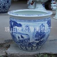 Jingdezhen high end hand painted antique blue and white landscape modern home decoration ceramic pots aquarium tank ornaments