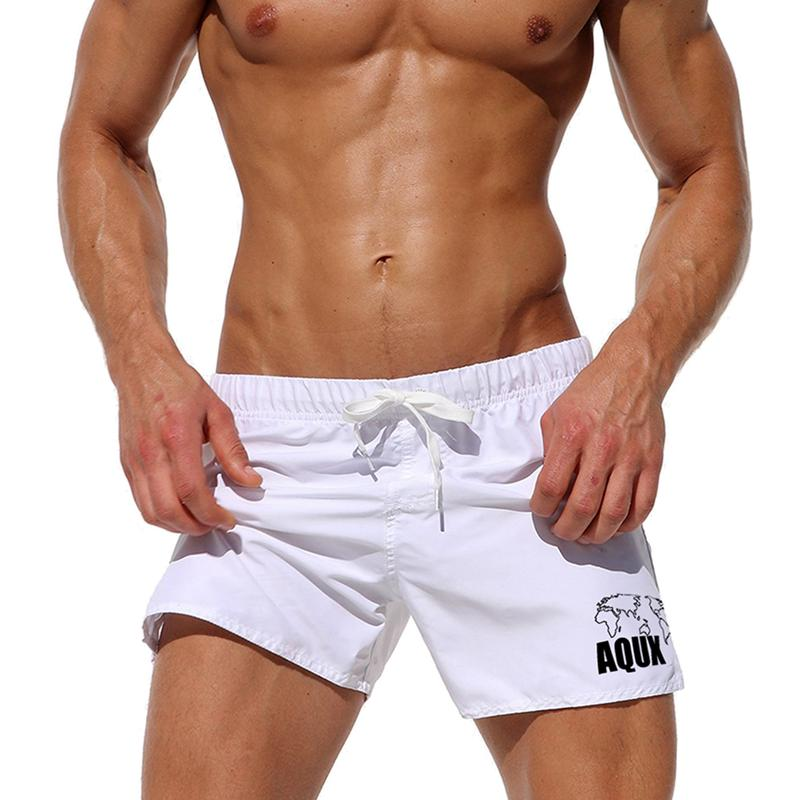Men's Solid Color Board Shorts Beach Swimwear Map Pocket Drawstring Swimming Trunks Liner Surf Shorts Bathing Suits