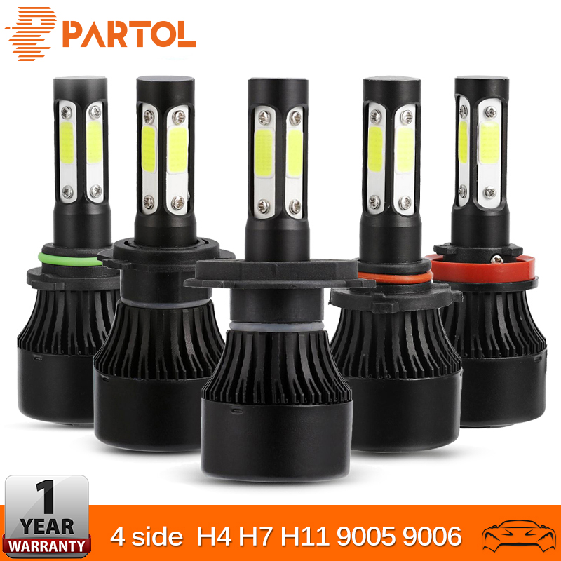 Partol 4 Sides Luminous H4 H7 H11 9005 9006 COB 100W 10000LM Car LED Fog Light Bulbs 6500K Auto LED Headlight Car Lights 12v 24v