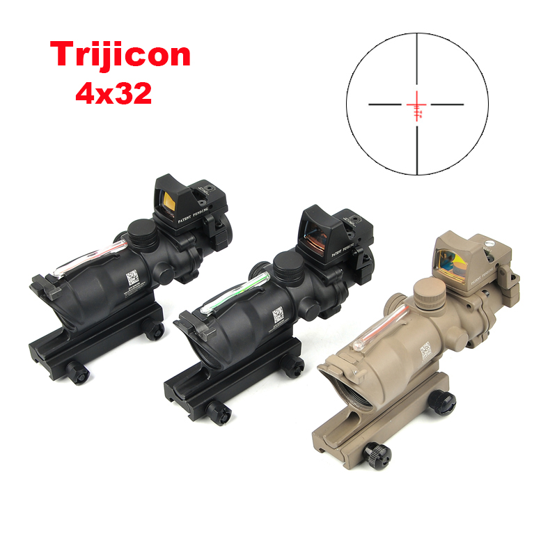 Trijicon ACOG 4X32 Real Reticle Fiber Optic Scope Red Illuminated Sight With Mirco Red Dot Sight 20mm Rail Hunting Scopes trijicon acog 4x32 red dot sight scope tactical hunting scopes real green red fiber riflescope optics for rifles
