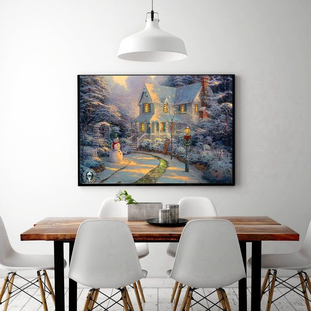 Christmas Snowman Landscape Artwork Canvas Painting For Kitchen Dining Room Wall Art Print Vintage Home Decorations Dropshipping