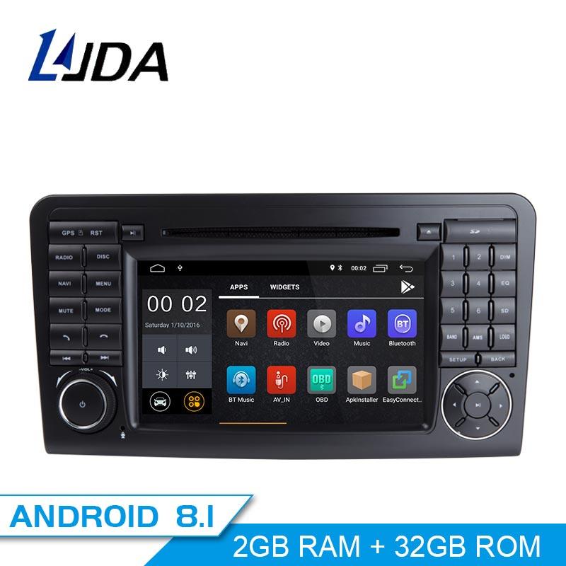 Ljda 2 Din Android 8,1 радио автомобиль Mercedes Benz ML класс W164 ML350 ML300 автомобильный мультимедийный плеер стерео аудио gps DVD WI-FI ips