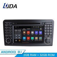 Ljda 2 Din Android 8,1 радио автомобиль Mercedes Benz ML класс W164 ML350 ML300 автомобильный мультимедийный плеер стерео аудио gps DVD WI FI ips