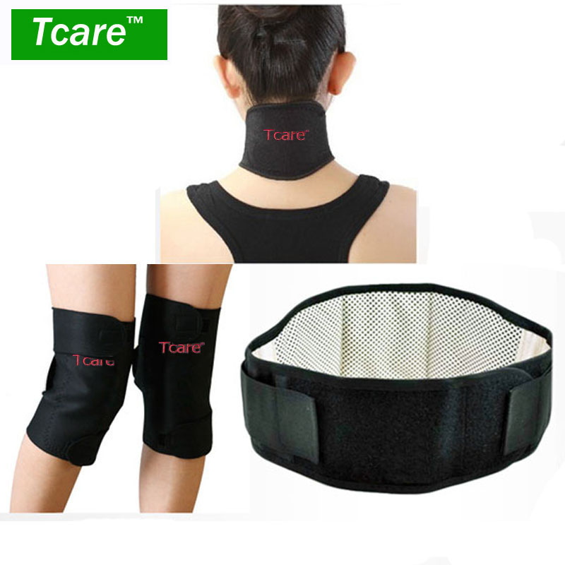 1Set Tcare Health Care Magnetic Therapy Tourmaline Set with Knee Support Pads Neck Massager Brace And Waist Belt 1pair tourmaline self heating knee leggings brace support magnetic therapy knee pads adjustable knee massager health care