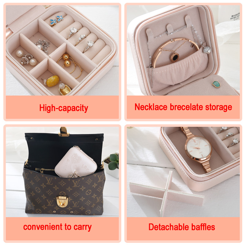 Купить с кэшбэком High quality Travelling Cosmetic PU Leather Jewelry Box Necklace bracelet earing Ring Storage Case for jewelry packaging box
