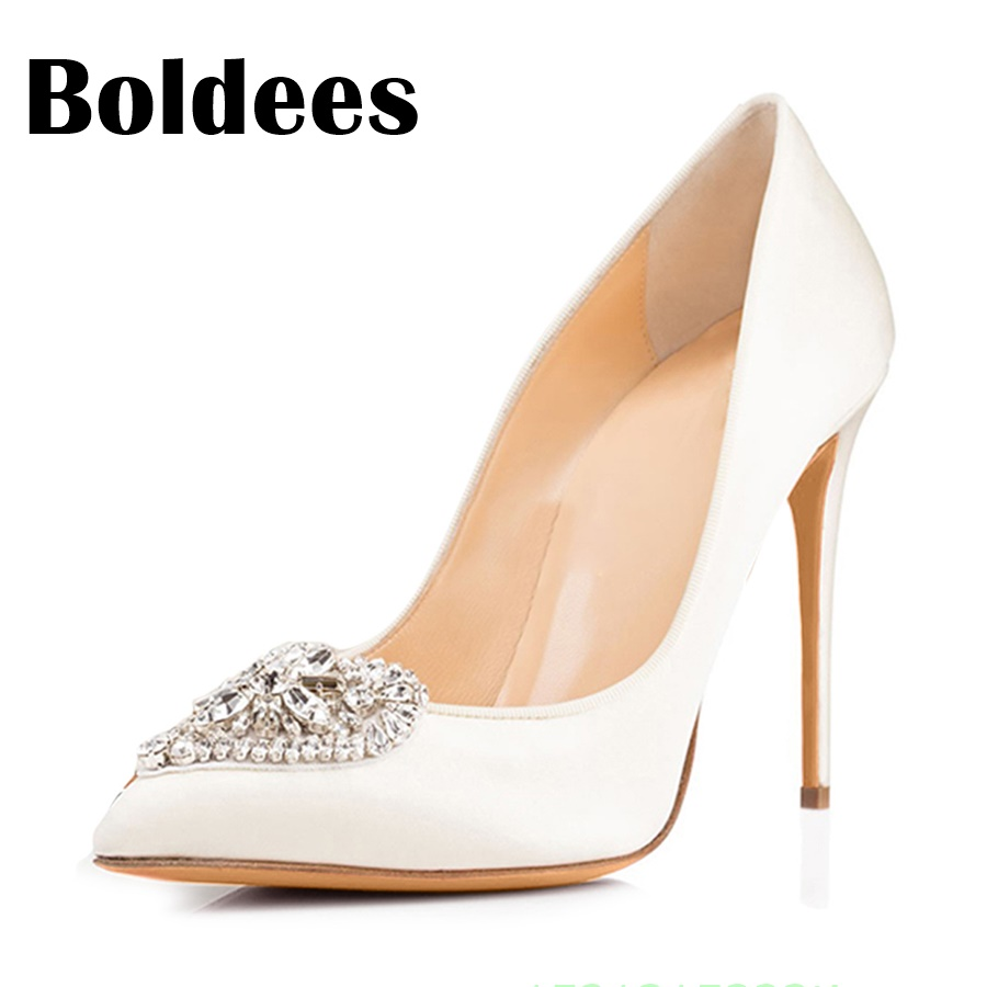 Boldee Womens Shoes Pumps 10CM High Heels Wedding Shoes Woman White High Heels Women Pumps High Heels Rhinestone Bride Shoes