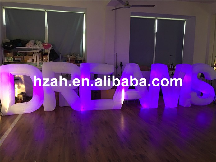 Colorful Light Inflatable Letter DREAMS for Party Decoration romatic inflatable light ivory for event and party decoration