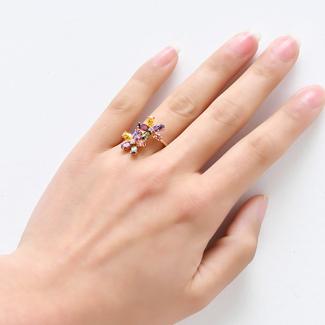 Colors Flower AAA Zircon Wedding Rings for women Rose gold color Crystal rings female anel fashion Jewelry gift top quality