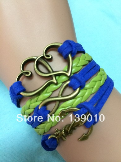 Hot Trendy Woven Grean Dark Blue Leather Suede Anchor Infinity Bracelet Bangles Alloy Heart Charm