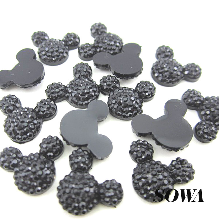 100pcs/lot New Design 12*16mm Black Color Mickey Head Flatback Scrapbooking Resin Beads Free Shipping