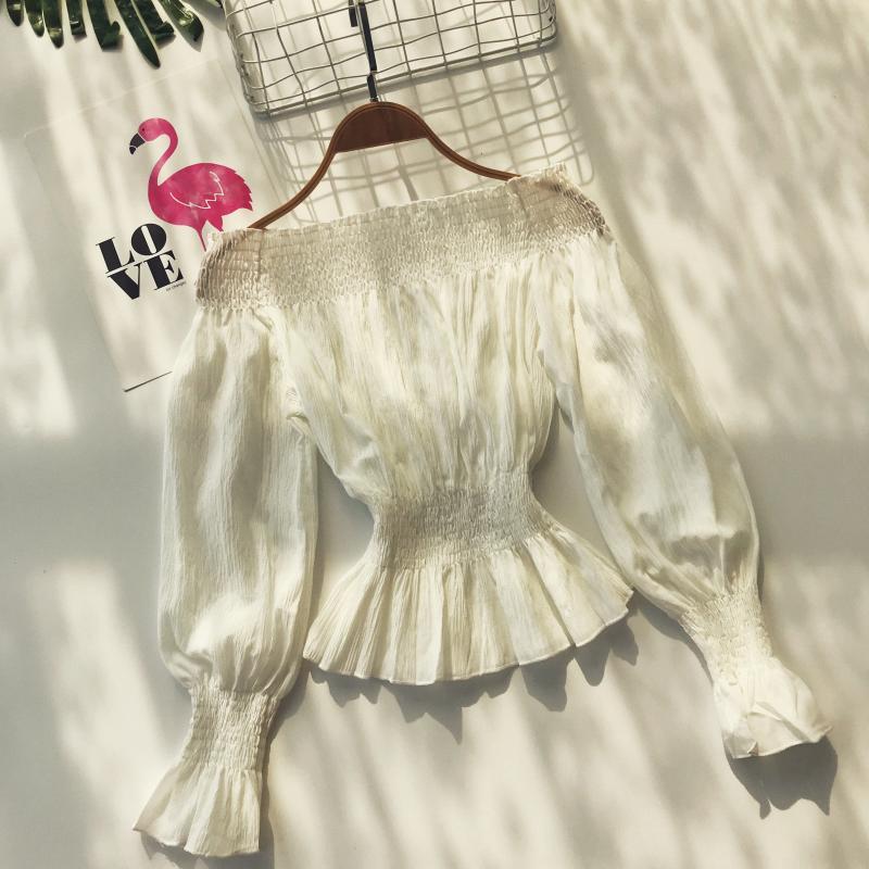 2019 spring new women pure color slash neck elasticity waist lantern sleeve blouses shirt female elegant sweet slim shirts tops 4
