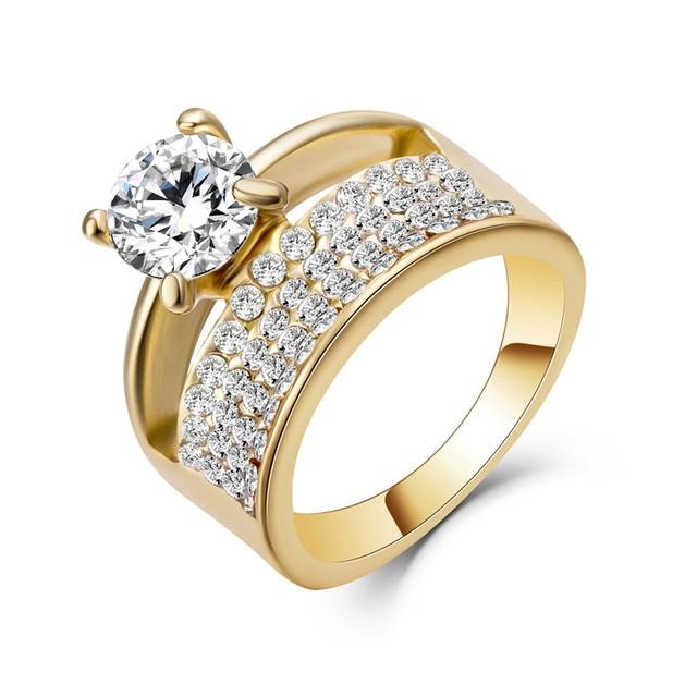 Le Baiser Bridal Set Doppi Anelli per le donne AAA CZ oro Riempito Set Anello di