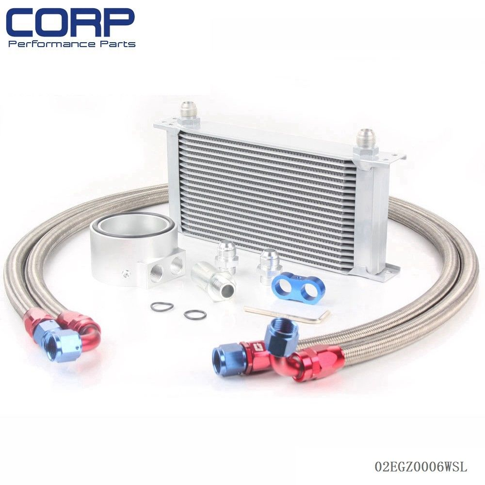 Free shipping Universal 19 ROW Engine Oil Cooler Kit + Sandwich Plate + AN10 Oil Lines Kit universal 28 row jdm engine oil cooler kit sandwich plate fit for ls1 ls2 ls3