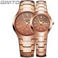 Amantes da moda Relógio de Aço de Tungstênio Das Mulheres Dos Homens Rose Gold Silver Cristal de Safira do Relógio de Quartzo Casal Relógio de Pulso montre femme