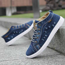 2019 Spring Denim High Top Men Shoes Men Casual Shoes Men's Flats Breathable Canvas Shoes Male Shoes Adult Fashion Sneakers Hot цены онлайн