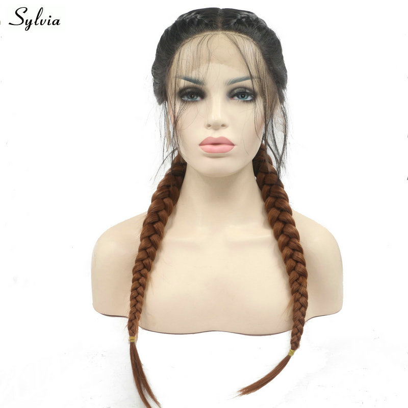 Sylvia Dark Roots Ombre Brown Double Braids Synthetic Lace Front Wigs With Baby Hair Long Braided