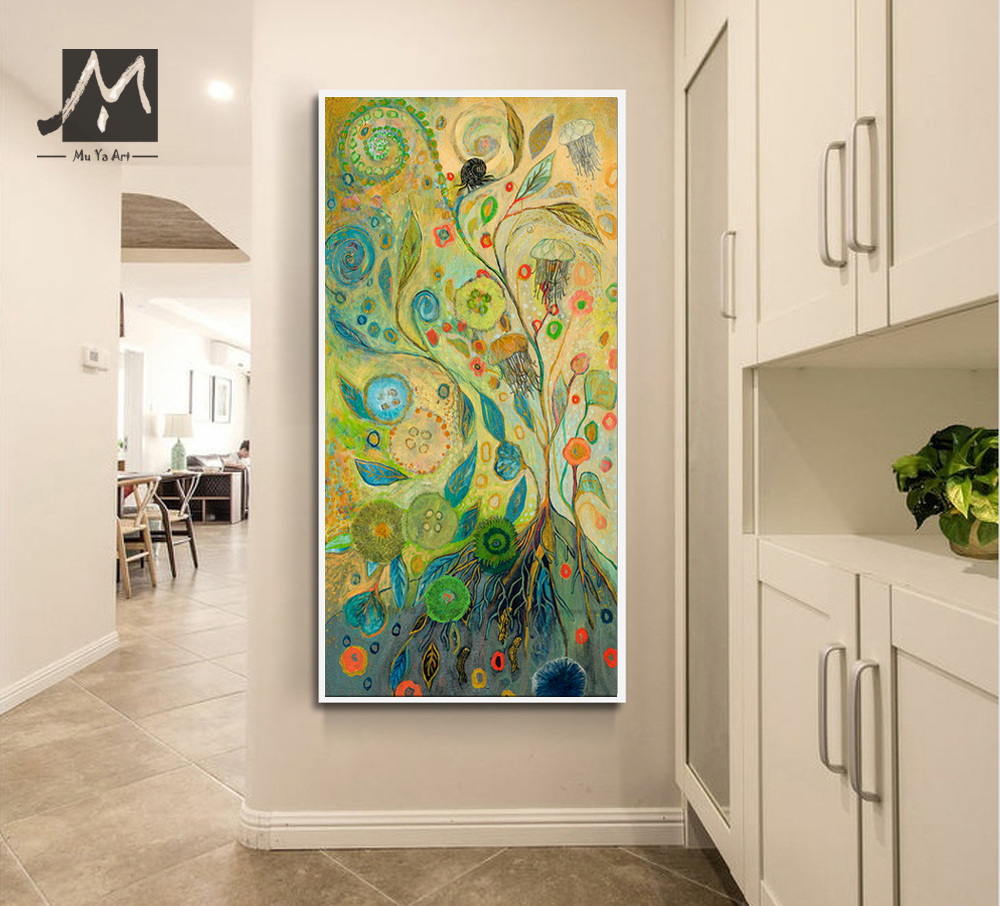 High quality hand painted oil painting vertical abstract - Oil painting ideas for living room ...