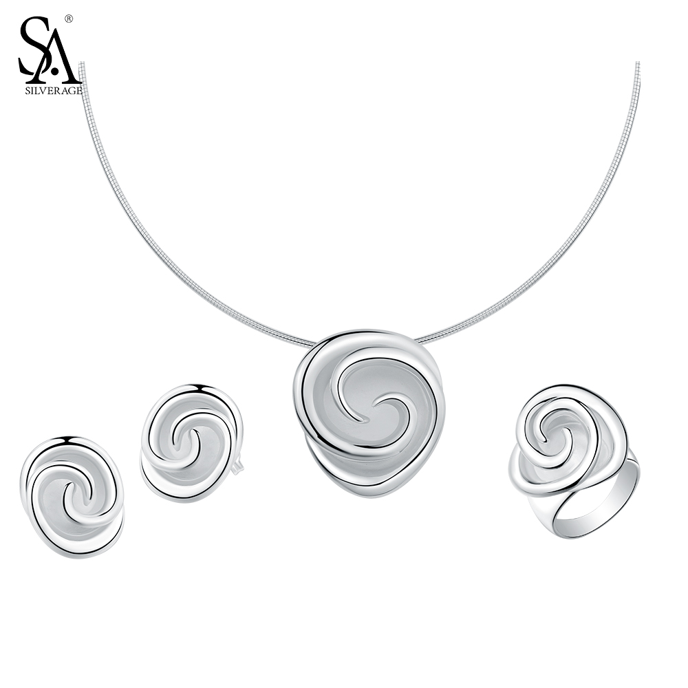 SA SILVERAGE 925 Sterling Silver Rose Jewelry Sets for Women Choker Pendant Necklaces 925 Silver Stud Earrings Wedding Rings sa silverage real 925 sterling silver crystal key necklaces pendants for women silver chain pendant necklaces wedding gifts