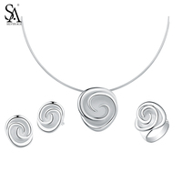 SA SILVERAGE 925 Sterling Silver Rose Jewelry Sets for Women Choker Pendant Necklaces 925 Silver Stud Earrings Wedding Rings