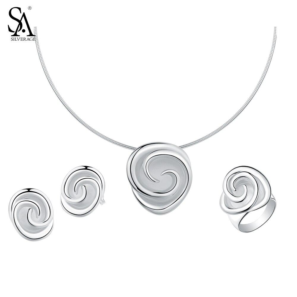 SA SILVERAGE 925 argent Sterling Rose ensembles de bijoux pour les femmes Choker pendentif colliers 925 argent boucles d'oreilles anneaux de mariage