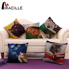 Miracille Cartoon Funny Dog and Cats Pattern Sofa Throw Pillow Covers Home Decorative Cushion Bedroom Decor 18