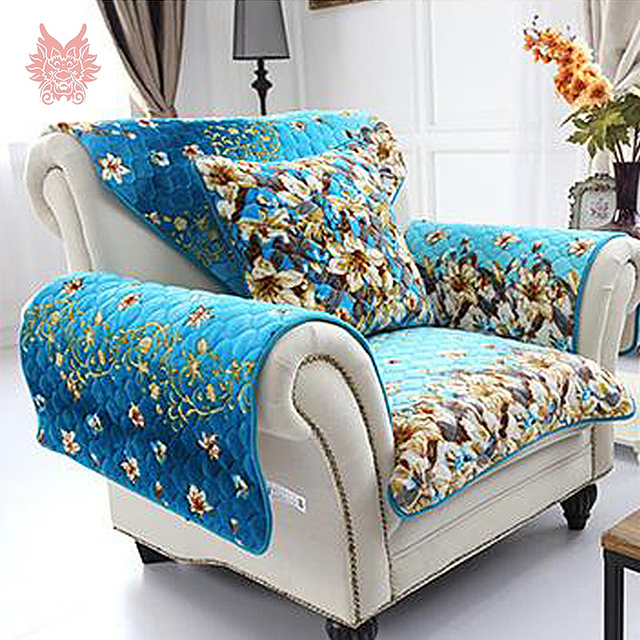 Free ship american style blue orange quilting sofa cover for Canape sofa cover
