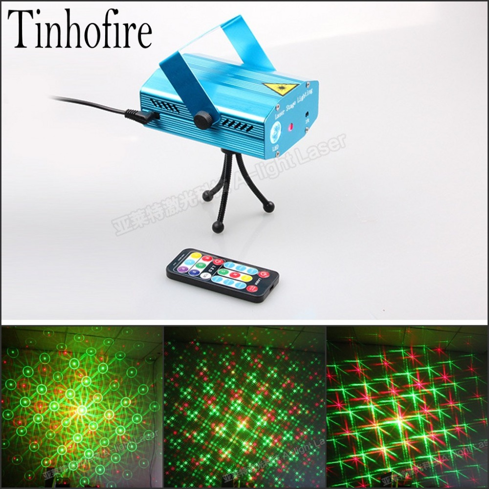 Tinhofire A-04G(LED) Remote Control 2 Hole Whirlpool MINI LED R&G Laser Stage Light Lamp Lighting Sound Control Party KTV DISCO