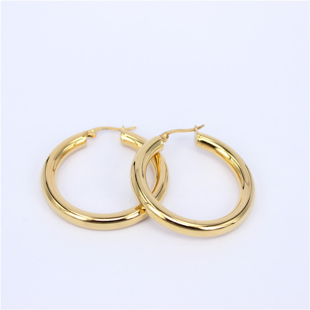 Looker Gold Color Circle Creole Earrings Stainless Steel Round Wives Hoop Gifts For