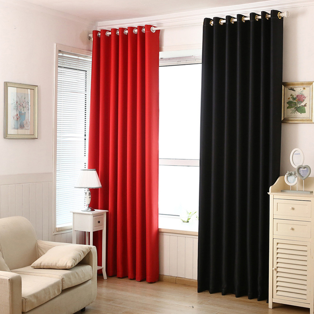 Modern Style Red And Black Luxury Blackout Curtains For Living Room  Decorations Bedroom Curtains Short Curtains