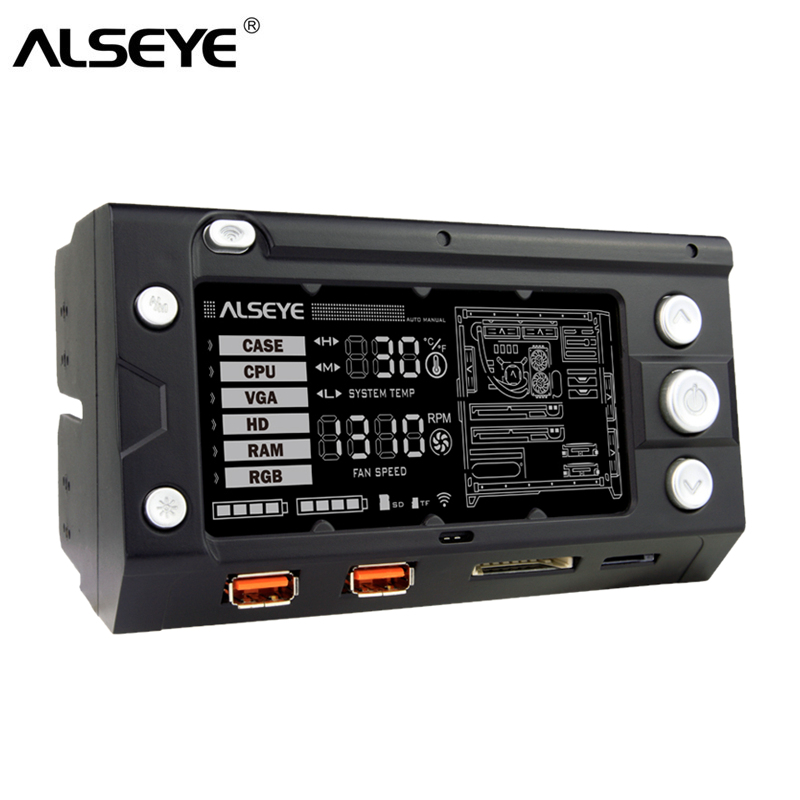 ALSEYE X-200 ventilatora kontrolieris PC ventilatora ātrums un RGB kontrolieris Wifi Funkcija 2 RGB LED sloksnes USB uzlādēšana SD / TF karšu lasītājs