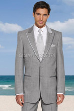 Wedding Suits 2016 Light Gray Mens Suits Groom Tuxedo,Tailored 2 Piece  For Men Business Formal Groomsmen Tuxedos Custom made