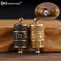 Tibet bouddhisme Surangama Mantra rotatif pendentifs collier Sanskrit amulette collier Six mots roue hommes mallette de rangement bijoux