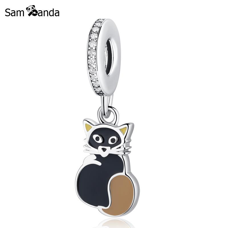 Authentic 925 Sterling Silver Charm Bead Silver Golden Cat Pedant Charms Fit Pandora Bracelets & Bangles For Women DiyJewelry