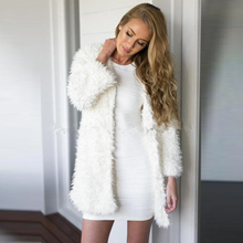 Winter Women White Faux Fur Coat Long Sleeve faux fur coat V-Neck Women No-Button Vintage Warm Faux Lambswool hairy Jacket S-XL