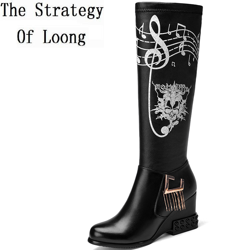 Women Autumn Winter Genuine Leather Height Increase Elevator Tassel Side Zipper Round Toe Fashion Knee High Boots SXQ1013 riding winter boots feathers 2015 new fashion korean metal decoration genuine leather elevator pull on pure color round toe
