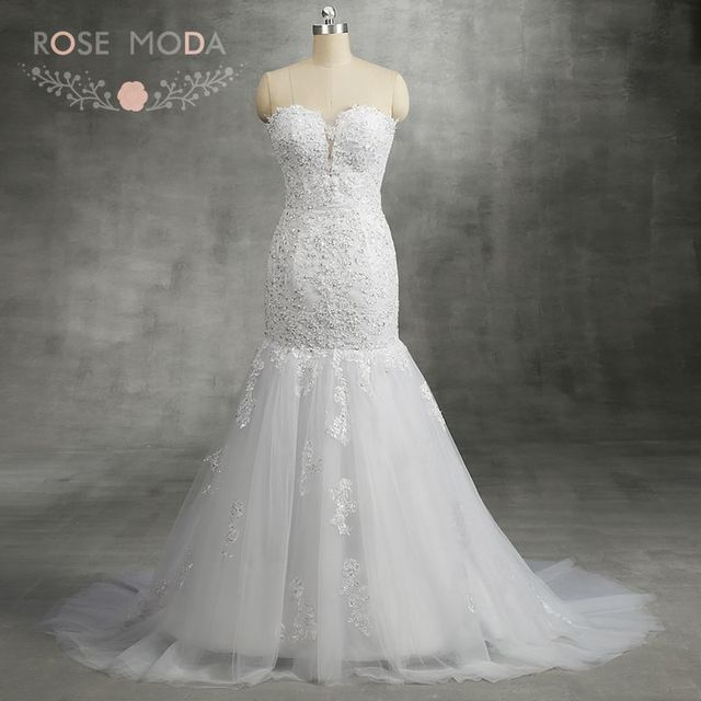 Rose Moda Lace Mermaid Wedding Dress Up Back Illusion Deep Sweetheart Trumpet Dresses 2018