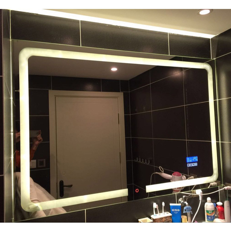 Smart LED Toilet Bathroom Mirror Anti fog Touch Screen Wall Mirror Makeup 700*900mm Rectangle Vanity MirrorsWith Bluetooth Music 2