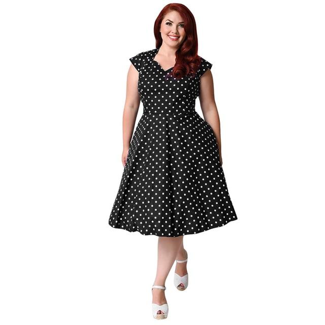 US $39.32 |Women Midi Dress Plus Size Retro Polka Dot Dress 1950s 60s  Rockabilly A Line Party Swing Dress Women Black/Dark Blue Fashion-in  Dresses ...