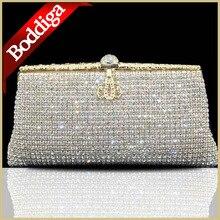 Luxus design Kristall hochzeit handtasche strass Kristall abendtaschen kristall paillette Bogen Gold kupplung geldbörse #80161