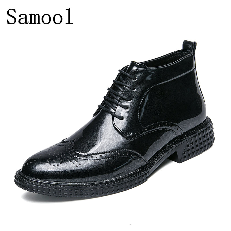 Samool Men Boots Patent Leather Lace-up Pointed Toe Luxury Fashion Classic Business Office Formal Ankle Boots Men Brogue Shoes fashion pointed toe lace up mens shoes western cowboy boots big yards 46 metal decoration