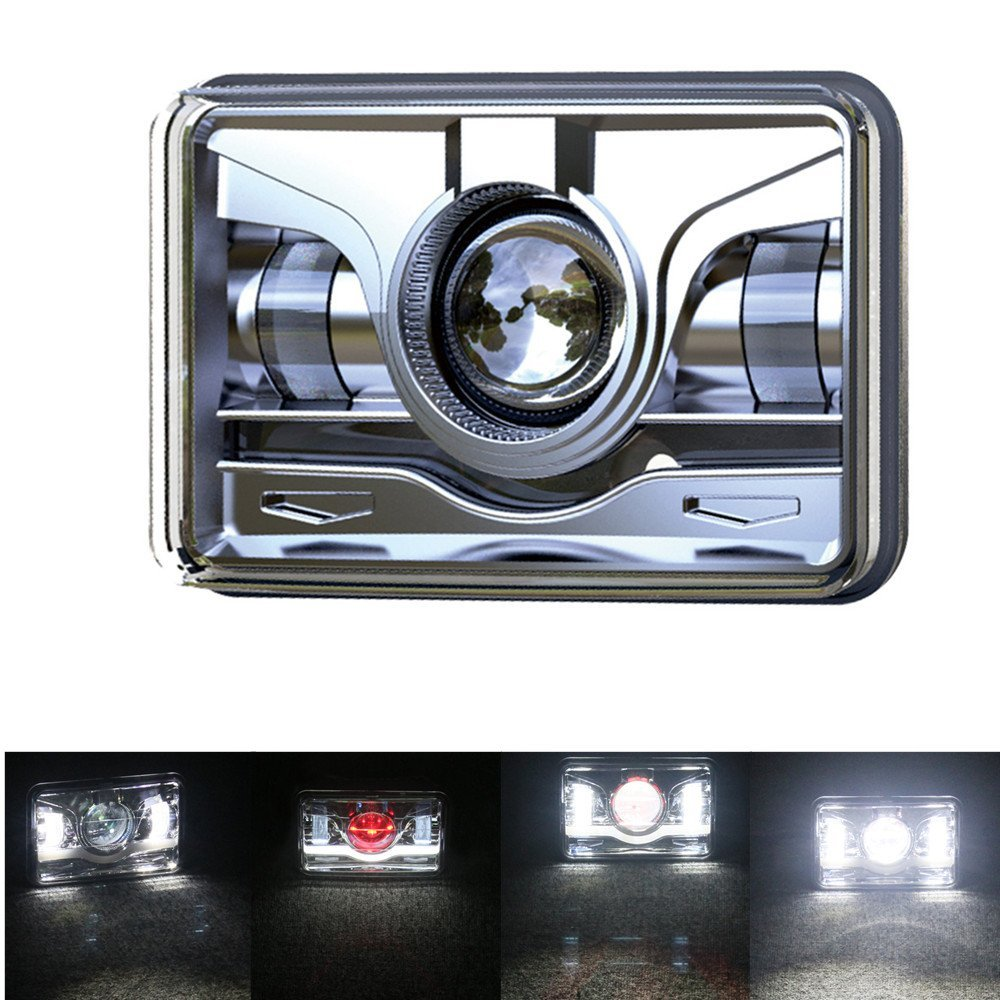 2Pcs 45W 4X6 Rectangular LED Headlight High Low Beam Sealed Replacement Lamp for H4651 H4652 H4656 H4666 H6545 pair 4x6 inch 45w led sealed headlight h4651 h4652 h4656 h4666 h654 truck headlamp replacement heavy duty trucks work light
