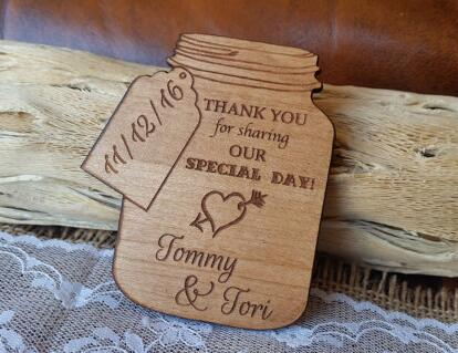 Personalized Mason Jar Wedding Wooden Save The Date Magnets Bridal Shower Party Favors Company Gifts Thank You Tags In From Home Garden On
