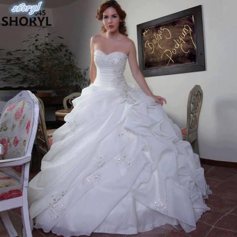 Vestidos de Boda de lujo  de Bola del Organza Blanco con Encaje de Nuevo  Rizó V