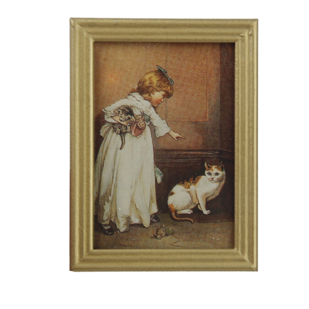 New arrivals resin frame girl and cat mural wall painting for Classic mural painting