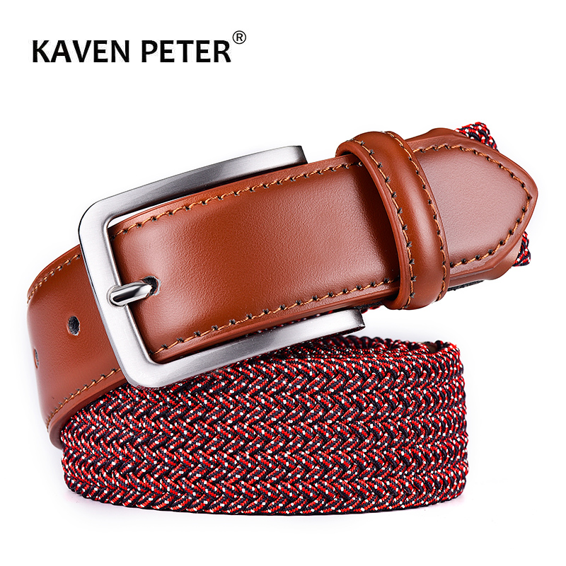 2019 Elastic Belt For Men Unisex Genuine Leather Strap Weave Stretch Canvas Lover Belt High Quality Waistband Leisure Accessory