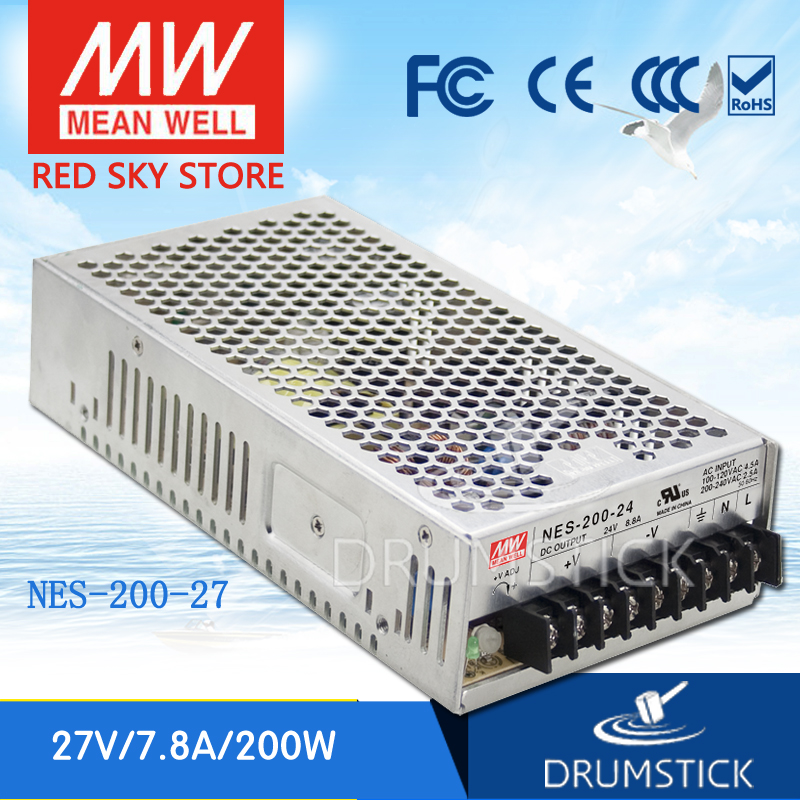 hot-selling MEAN WELL NES-200-27 27V 7.8A meanwell NES-200 27V 210.6W Single Output Switching Power Supply [Real1] original meanwell nes 350 24 ac to dc single output 350w 14 6a 24v mean well power supply nes 350
